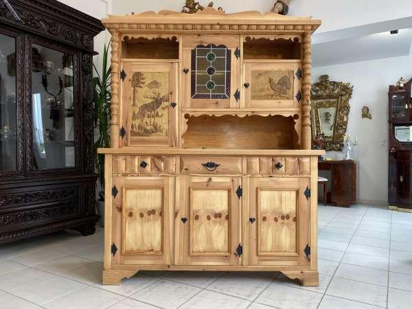urige Zirbenholz Kredenz Küchenvitrine Küchenschrank A2623