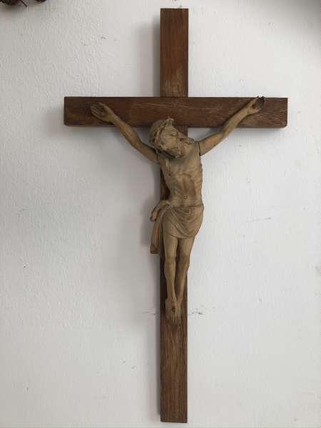altes Kruzifix Christus Skulptur Dreinageltypus bäuerlich E1400