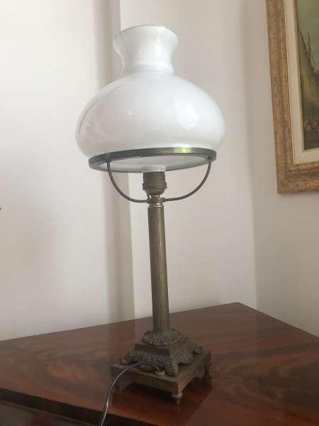 original bäuerliche Standleuchte mit Glasschirm Schreibtischleuchte Z1851