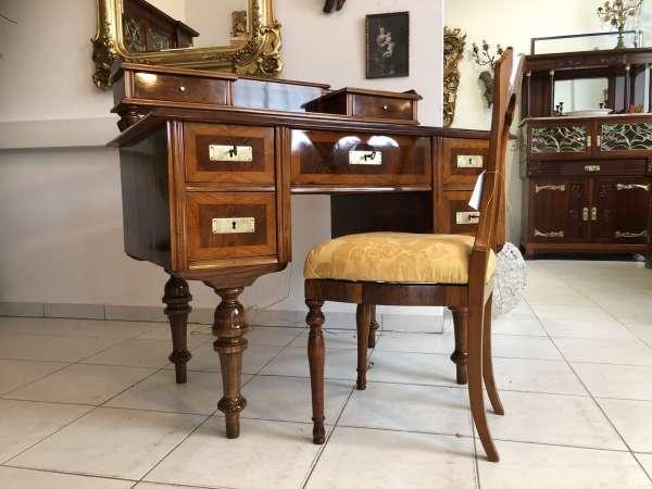 restaurierter Gründerzeit Schreibtisch Sekretär Schreibmöbel Nussholz E1087