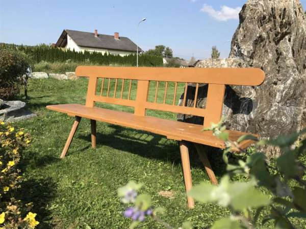 uriges altes Bankerl Sitzbank Bauernbankerl Sitzbankerl Naturholz - W3153