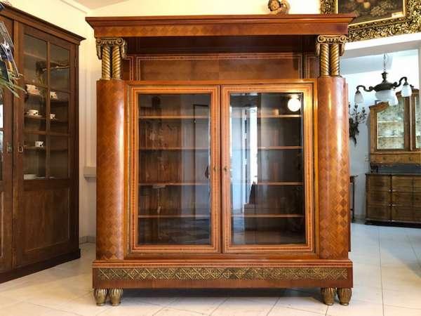 prächtige Klassizismus Vitrine Bücherschrank Glasvitrine um 1900 X2575