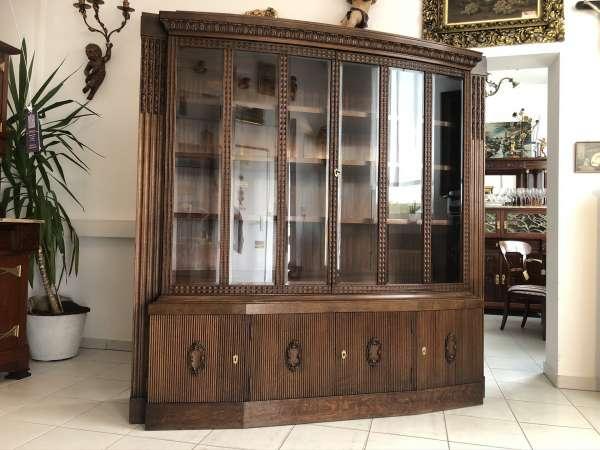 originaler Jugendstil Glasschrank Bücherschrank Bibliothekschrank E1332