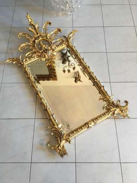 floraler prächtiger Florentiner Spiegel Rahmen um 1910 - 23k vergoldet - A1235