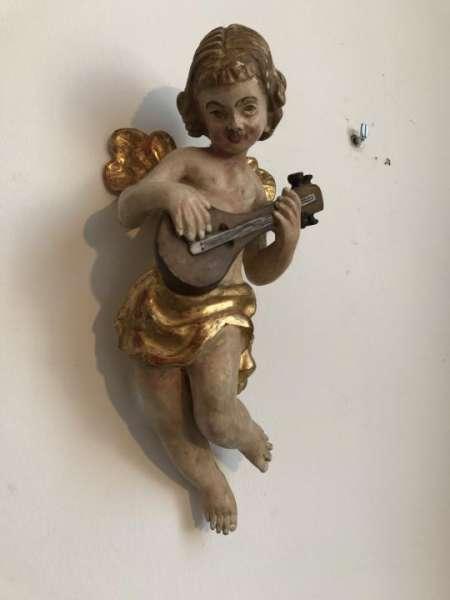 himmlische Engelsfigur Engel Holzfigur Holzschnitzerei - W1946