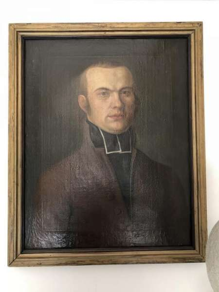 "Frühes Biedermeier Herrenporträt ""Pfarrer"" . sig. F. I. Müller dat. 1806 X1902"