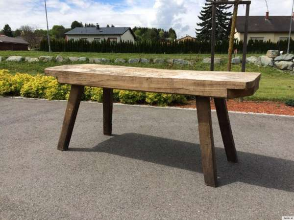 schwerer uriger Hacktisch Designer Tisch Bauerntisch Bauernmöbel A1064