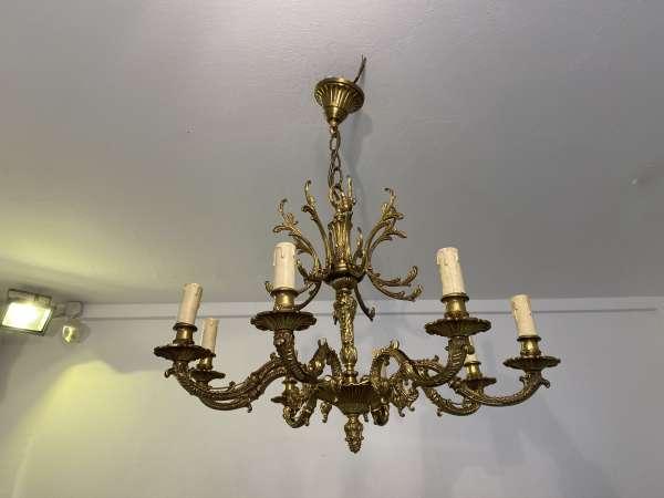 hübsche Hängeleuchte Leuchter Prunk Messingluster Salonluster E2078