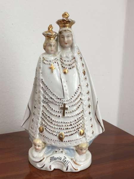 Heiligenfigur Mutter Gottes mit Kind Porzellanfigur Mariazell Z1643