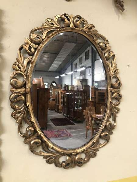 originaler ovaler Florentiner Spiegel Akanthusblattschnitzkunst Holzschnitzerei E1391
