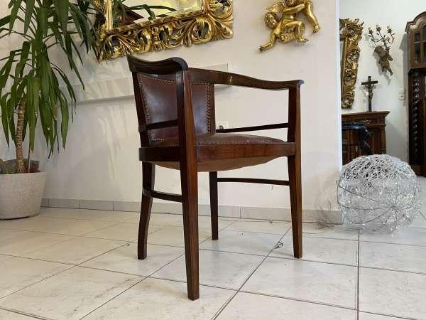 hübsche Jugendstil Armlehnstühle Sessel Fauteuil Leder E2271