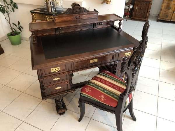 Historismus Schreibtisch Sekretär Restauriertes Schreibmöbel -X2087
