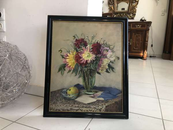altes Blumenstilleben Ölbild gerahmt schwarz Z2031