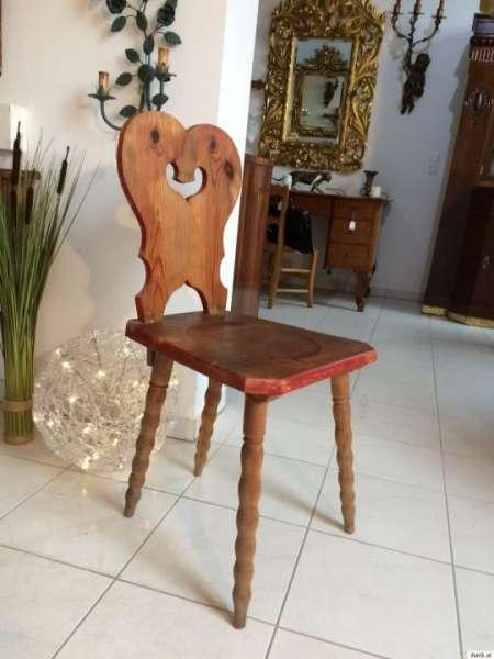uriger alter Bauernsessel Sessel Stuhl Herzerlsessel Zirbenholz Naturholz 9191