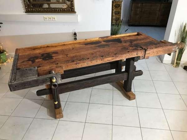 originale praktische Hobelbank, Werkbank, Schreibtisch, Küchentisch Designertisch X1075