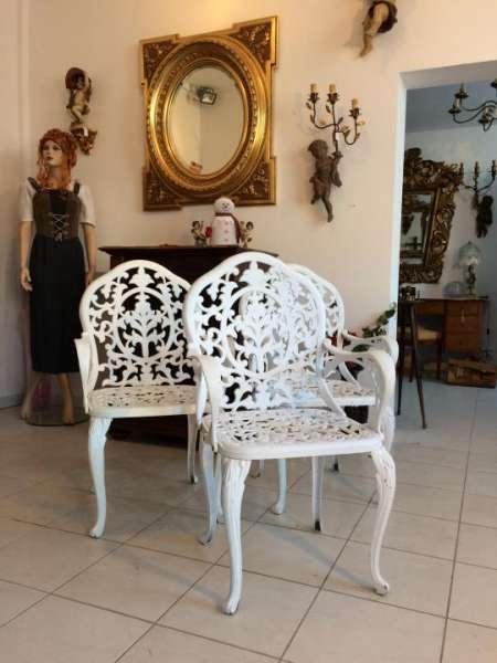 Paar Shabby Chic Metall Eisengeflecht Stühle Bistrostuhl mit Blattdekor - W1264