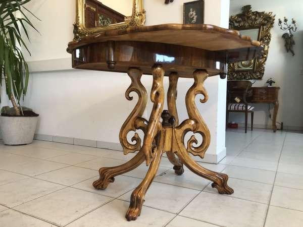 restaurierter Gründerzeit Spieltisch Tisch Schachtisch Konsoltisch E1278