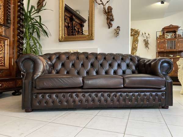 traumhaftes Chesterfield 3er Clubsofa Diwan Couch Zigarrenbraun A2305-Copy