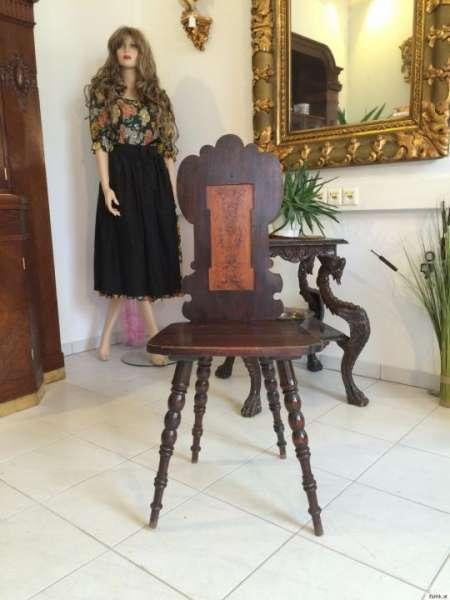 uriger alter Bauernsessel Sessel Stuhl Massivholz Rückmuster 9175