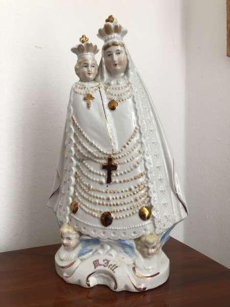 Heiligenfigur Mutter Gottes mit Kind Porzellanfigur Mariazell Z1640