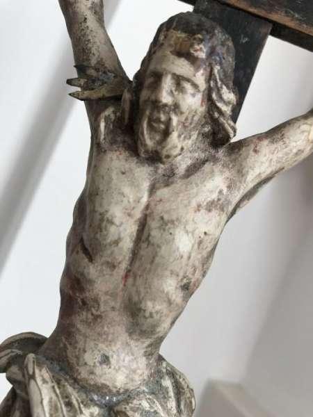 Standkreuz Kruzifix Dreinageltypus Memento Mori INRI geschnitzt & gefasst 19.Jh W2131