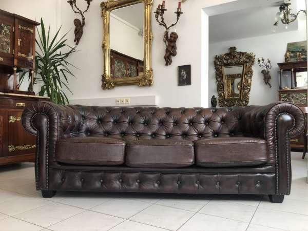 Chesterfield Clubsofa Diwan Couch Antikbraun Zigarrenbraun E1331