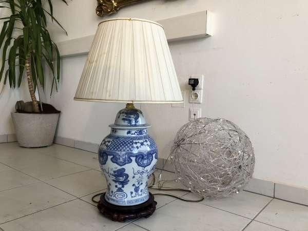 prunkvolle Stehlampe Stehleuchte Porzellanleuchte Stoffschirm Z1488