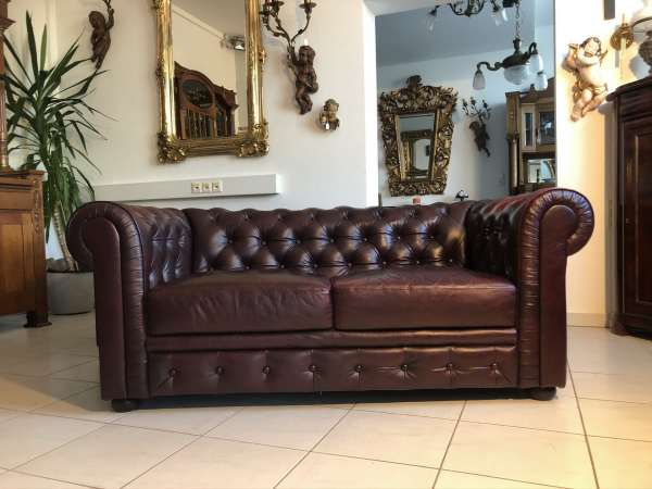 exclusives Chesterfield 2er Sofa Clubsofa Fauteuill Oxblood Z2100