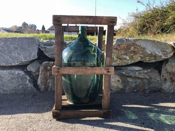Alte Glasflasche Weinballon, Gärballon, Schnapsflasche X2432