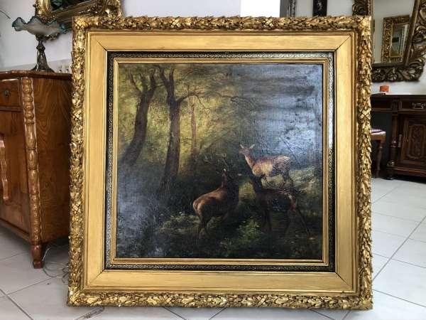 "großes Ölbild "" Motiv Rotwildtreff Künstler aus dem 19. Jahrhundert Z2025"