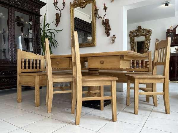 Eckbankgruppe Tisch + Sessel Bauernstube Naturholz A2723