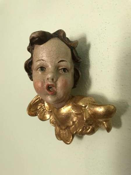 göttlicher Engelskopf Holzengel golden Kunstobjekt Holzgeschnitzt W2216