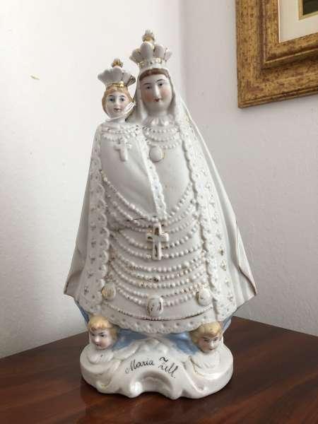 Heiligenfigur Mutter Gottes mit Kind Porzellanfigur Mariazell Z1639
