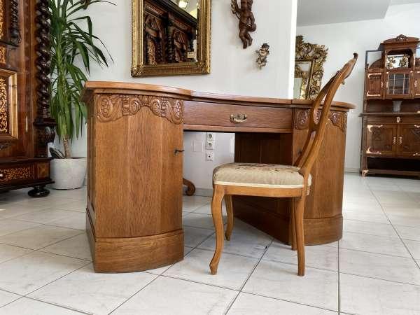 traumhaftee Jugendstil Schreibtisch Sekretär Freisteher Originalstück A2410