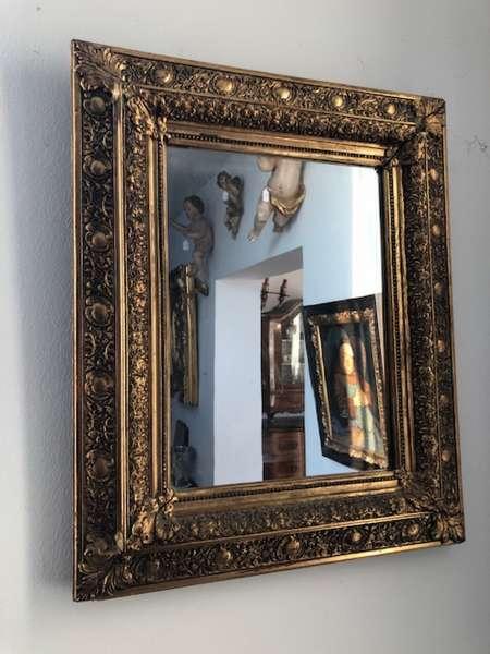 prächtiger Biedermeier Spiegel Holzspiegel original Z1098