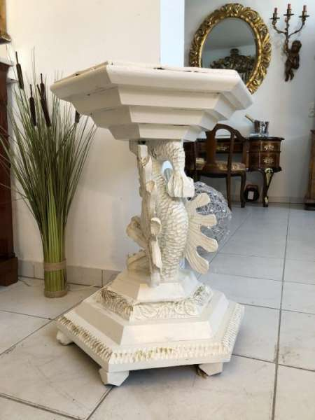 hübscher Drachentisch Tisch Blumentisch Weiss Shabby Look X1160