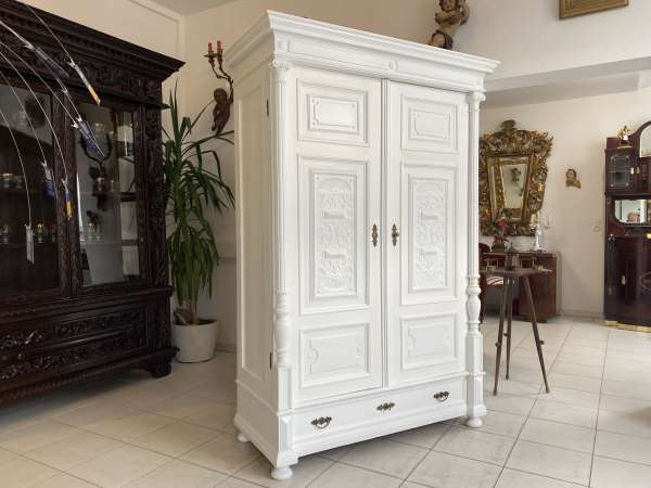 originaler Gründerzeit Garderobenschrank Säulenschrank A2551
