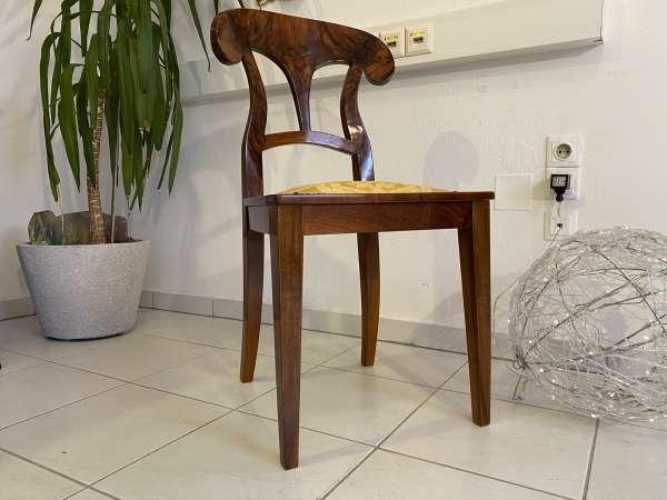 Biedermeier Sessel = 1 Stück Nussholz Schaufelsessel Original E1993