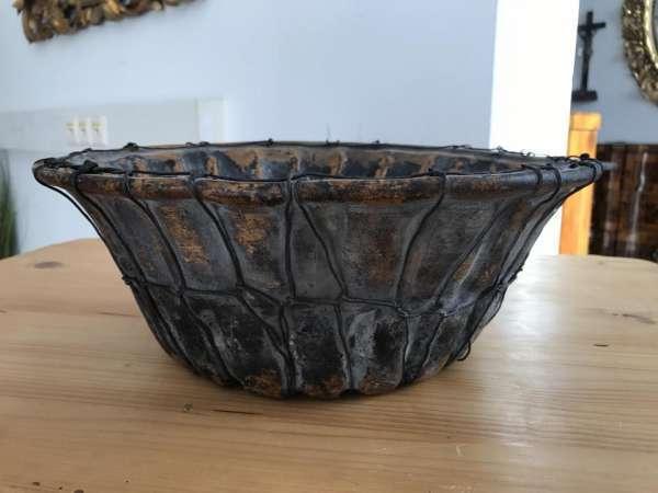 Terrakotta Steinzeug Backform Kuchenform glasiert 19.Jh W2078