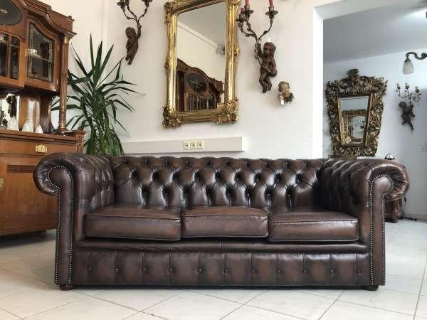 Chesterfield Clubsofa Diwan Couch Antik Braun Antik Zigarrenbraun Z1793