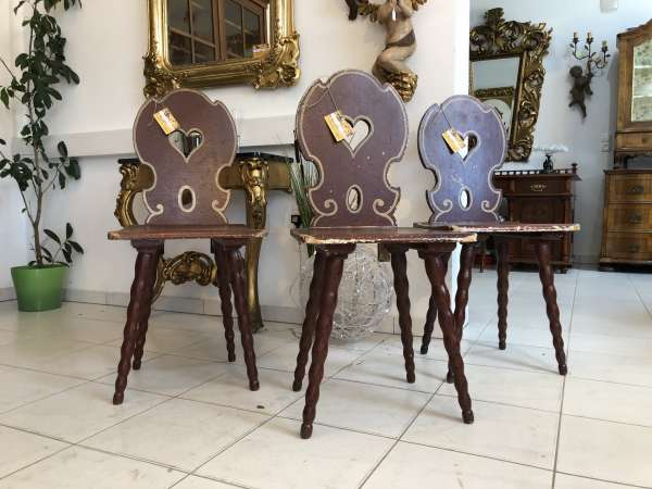 3 Stück handbemalte Herzerlsessel Bauernstühle Sessel X2218