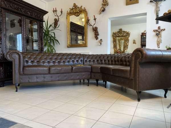 Chesterfield Ecksofa Diwan Couch Eckliege Zigarrenbraun A2533