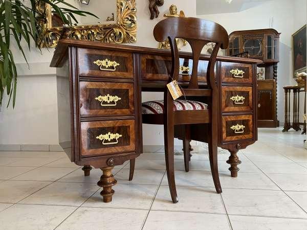 restaurierter Gründerzeit Schreibtisch Sekretär Schreibmöbel Nussholz E2127