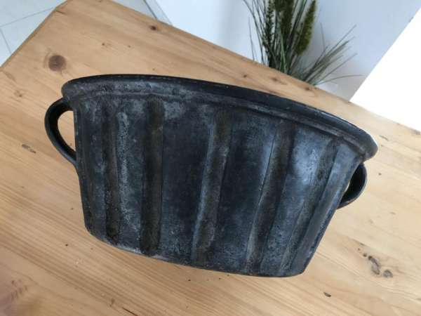 Terrakotta Steinzeug Backform Kuchenform glasiert & reliefiert 19.Jh W2079
