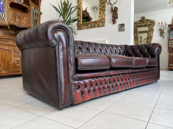 Chesterfield 4er Clubsofa Diwan Couch Oxblood E1666