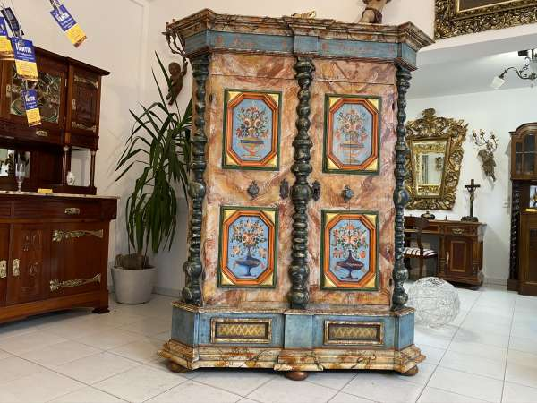 originaler Bauernschrank Barockschrank Säulenschrank E2075