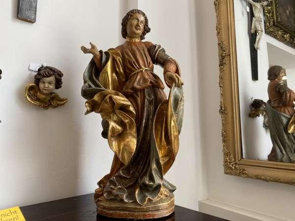 hölzerne sakrale Heiligenfigur Holzfigur Schnitzkunst Holzschnitzerei E2094