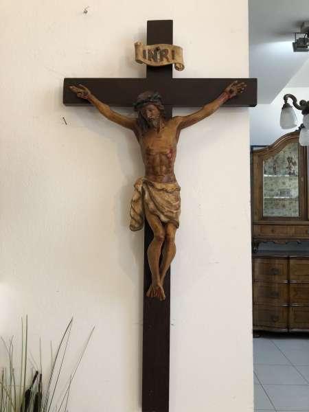 altes Kruzifix Christus Skulptur Dreinageltypus bäuerlich X2154
