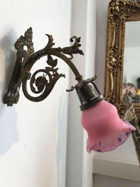 hübsche antike Jugendstil Wandleuchte Leuchter Wand Applikke Messingleuchter W3073