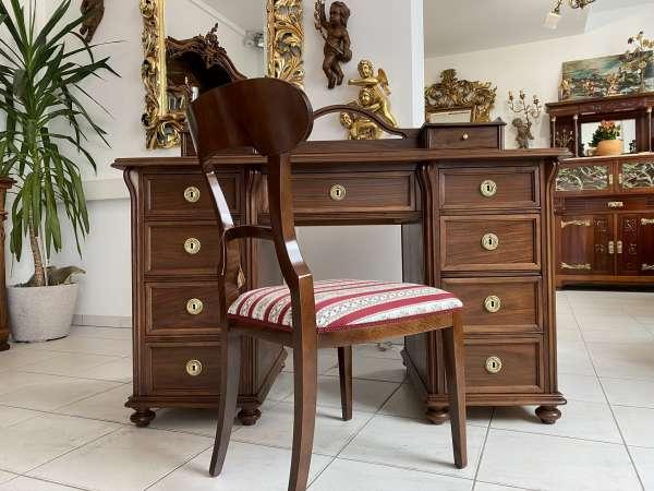 restaurierter Originalstück Jugendstil Schreibtisch Sekretär Freisteher E1797